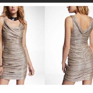Express Metallic Gold Ruched Dress